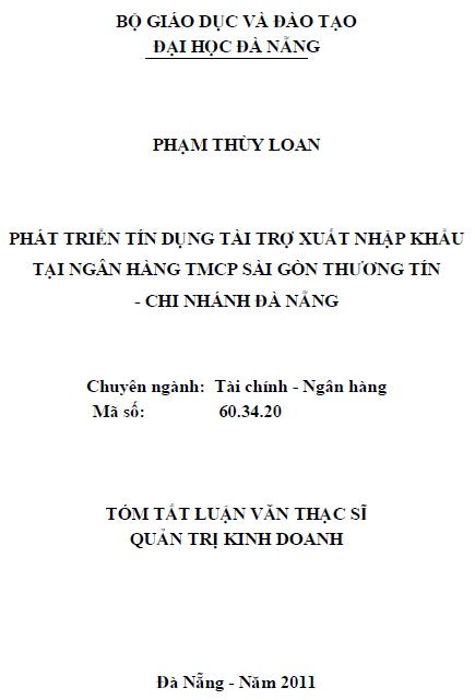 Phát triển tín dụng tài trợ xuất nhập khẩu tại ngân hàng TMCP Sài Gòn Thương tín chi nhánh Đà Nẵng