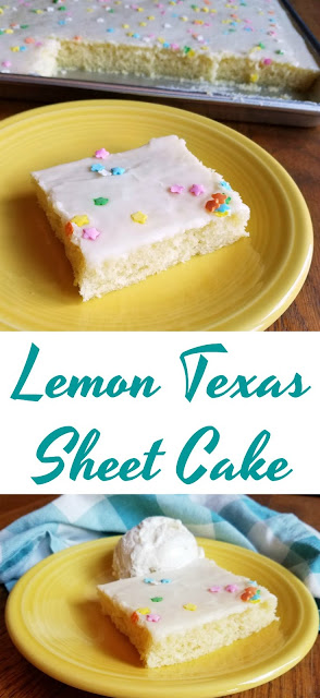 This Lemon Texas Sheet Cake is perfect for feeding a crowd.  It is so easy to make and has just the right amount of lemon flavor. Take it to your next BBQ, family reunion or potluck!