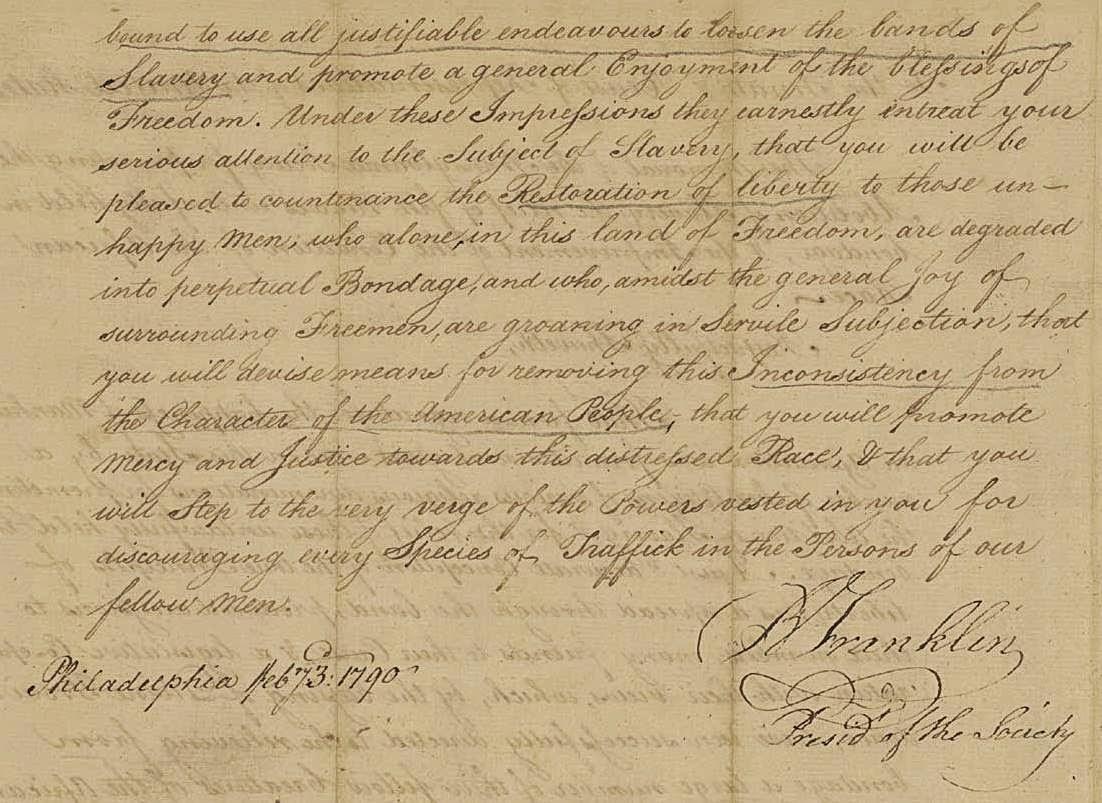 Benjamin Franklin Abolition Of Slavery