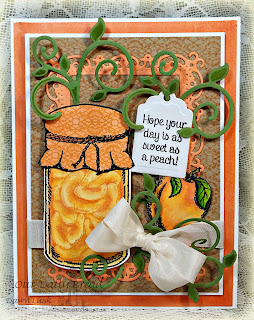 Stamps - Our Daily Bread Designs Canning Jar Fillers, Canning Jar Fillers 2, Blue Ribbon Winner, Peaches, Crocheted Background, ODBD Custom Fancy Foliage Die,ODBD Custom Canning Jars Die,ODBD Custom Recipe Card and Tags Die