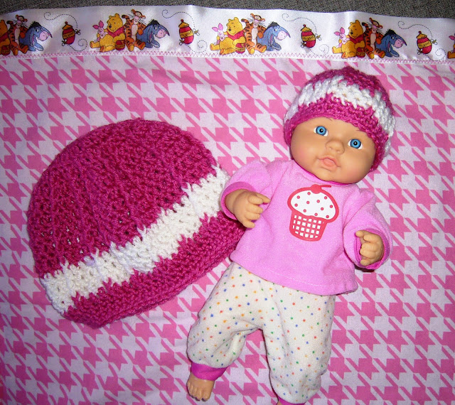 Matching hats for girl and baby for Operation Christmas Child shoebox.
