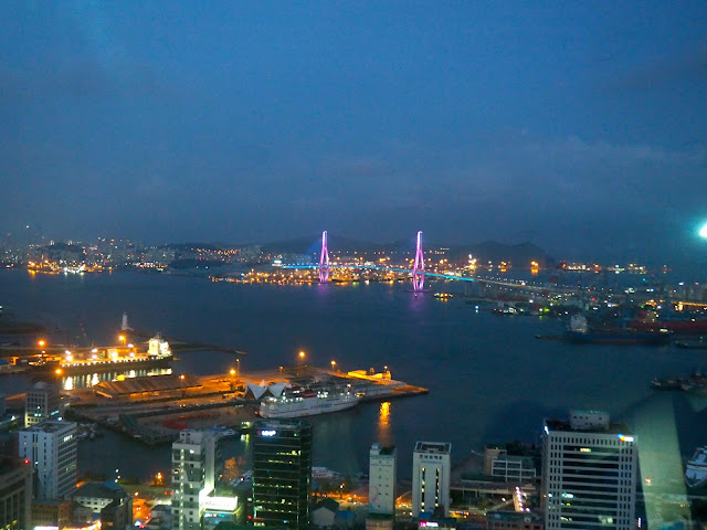 View from Busan Tower at night, including Gwangan Bridge, from Nampo-dong, Busan, South Korea