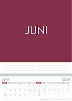 Simple Desain Kalender 2019 Indonesia bulan Juni beserta Hari Libur Nasional