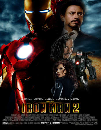 Poster Of Iron Man 2 2010 Dual Audio 450MB BRRip 720p ESubs HEVC Free Download Watch Online downloadhub.in