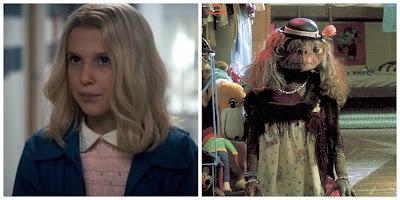 Eleven disfrazada de niña rubia y E.T. de señora