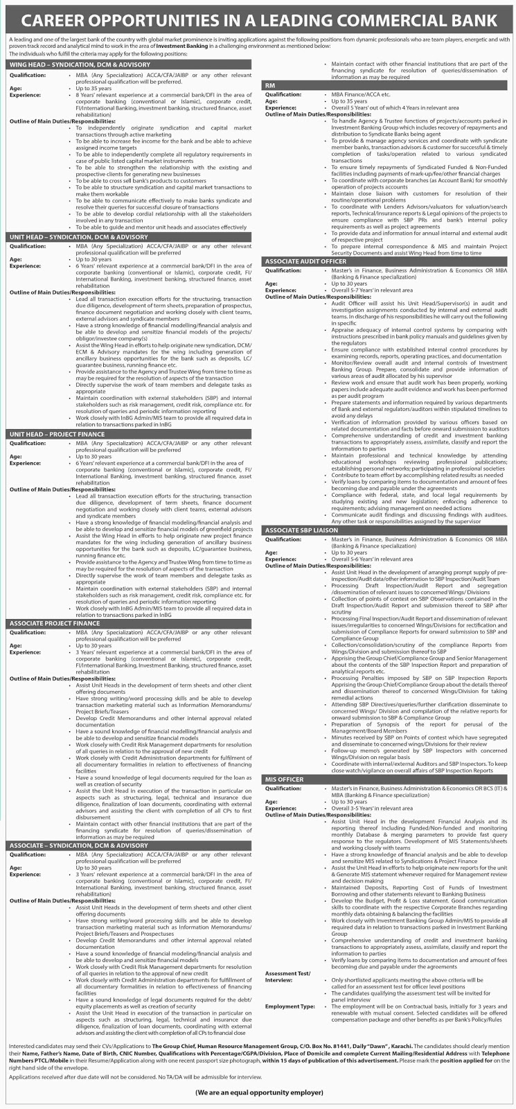 Unit Head, acount officer jobs in Leading Commercial Bank Karachi  May 15 2017