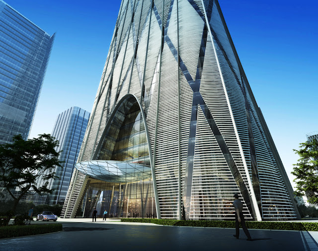 Rendering of the entrance of China Zun (CITIC Plaza) by TFP Farrells, Beijing, China