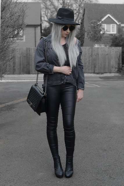 Sammi Jackson - Primark Fedora / Zaful Sunglasses / VIPme Grey Denim Jacket / Choies Double Buckle Belt / Primark Satin Jeans / OASAP Quilted Flap Bag / Office Chunky Boots