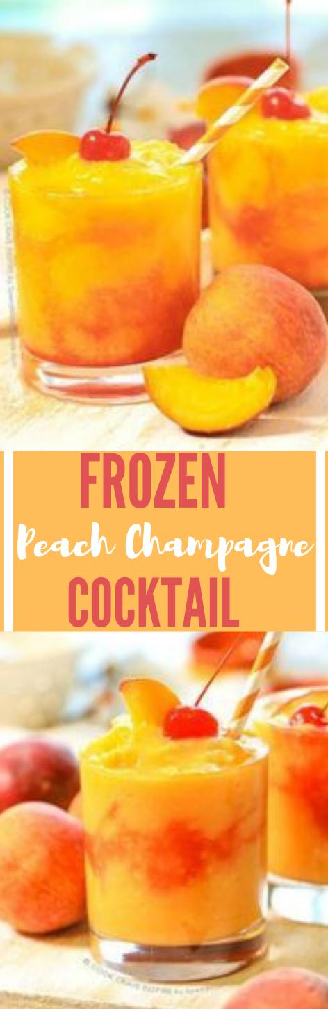 Frozen Peach Champagne Cocktail #drink #cocktail