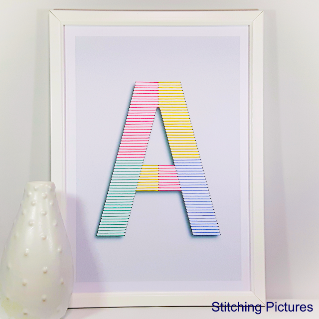 Stitching on card embroidery print and stitch pattern initials for baby nursery wall decoration