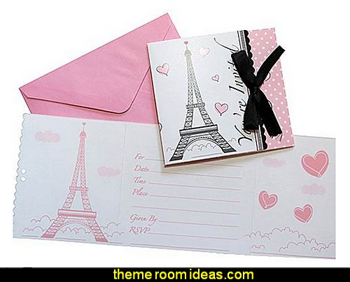 Party in Paris Invitation  Paris party decorations - Paris themed party supplies - Party in Paris Birthday Party Decorations  -  Pink Paris Party -  Paris party balloons - Eiffel Tower Favor Boxes -  French-themed celebration  - Pink Poodle Paris Theme Birthday Party