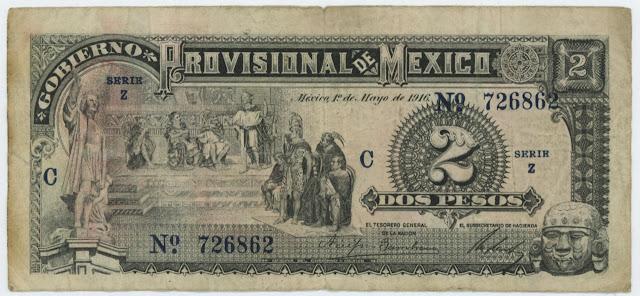 Mexico Revolutionary banknotes 2 Pesos Gobierno Provisional De Mexico