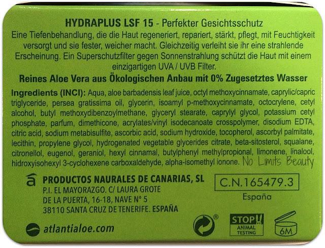 Puro Aloe de Canarias Hydraplus SPF15 de Atlantia