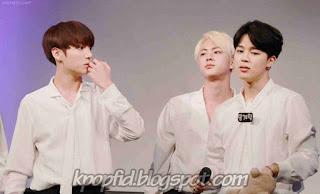 Foto Jin BTS dengan Jimin dan Jungkook
