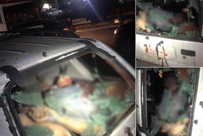 La Maña balea instalación policíaca en Coahuila y deja una camioneta con regalito de 5 ejecutados afuera
