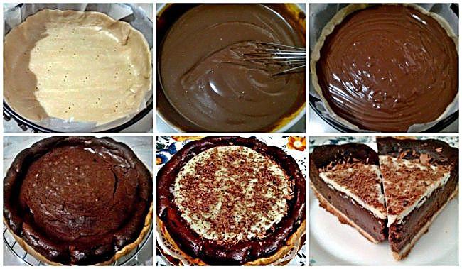 Preparación de la tarta de nutella y chocolate blanco