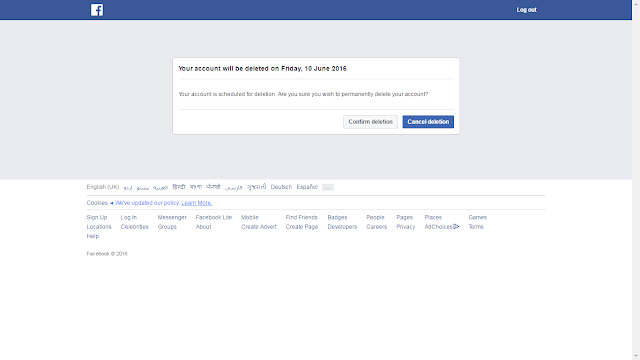 Cancel Fb deletion