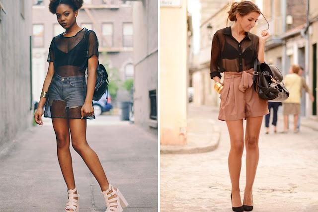Tendência de moda Bralette (Blusa Transparente com surtiã à mostra