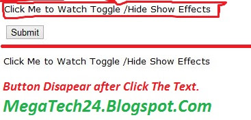 Hide Show Button JQuery Toggle Effects