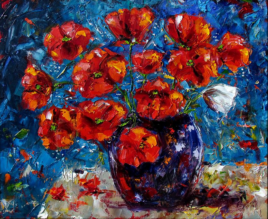 Vase Of Black Flowers Painting