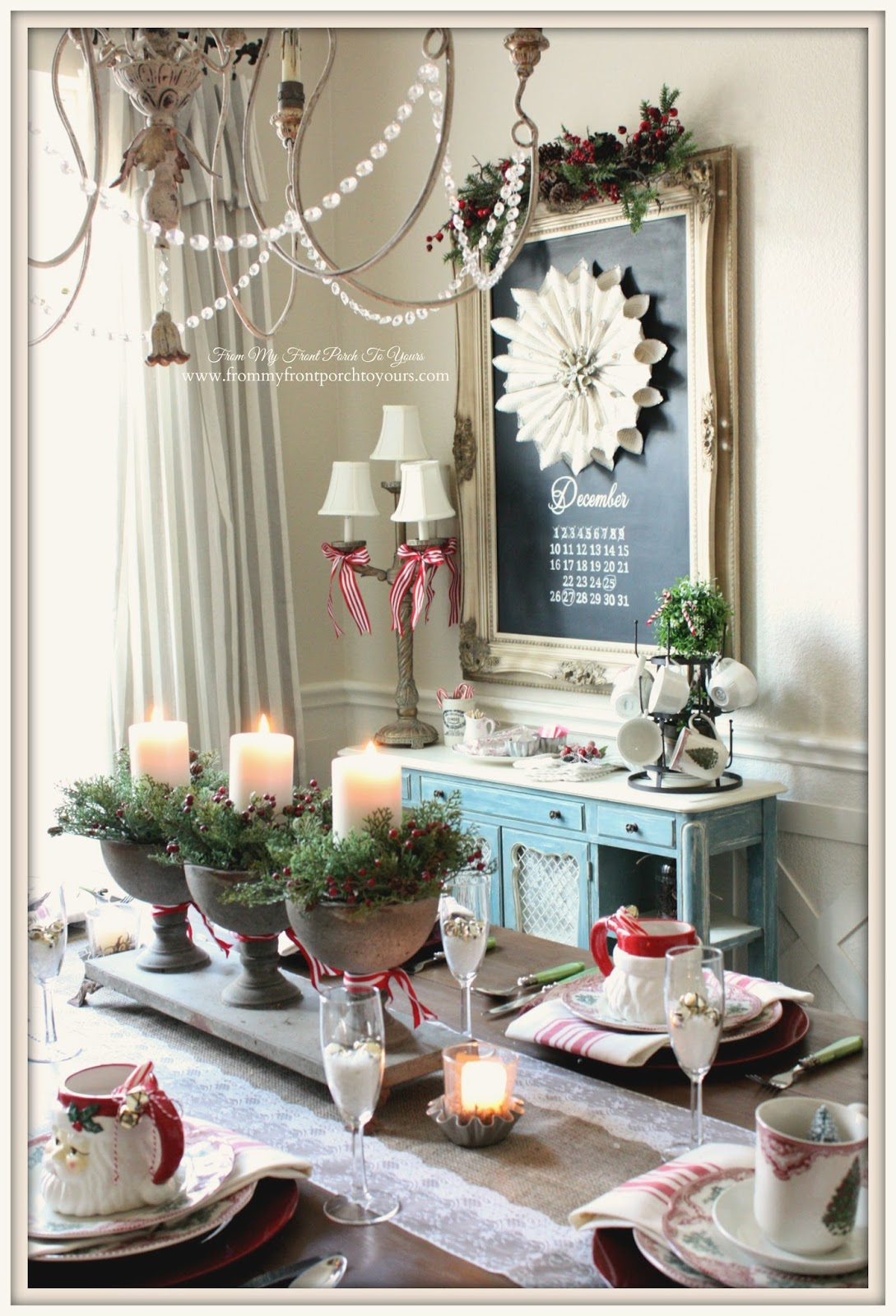 Dining Room Chalk Board-French Farmhouse Vintage Christmas Dining Room- From My Front Porch To Yours