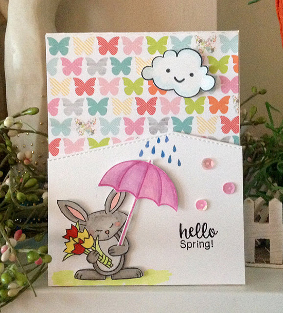 Bunny and Umbrella Spring card by Mary Gable | Hello Spring Stamp set by Newton's Nook Designs #newtonsnook