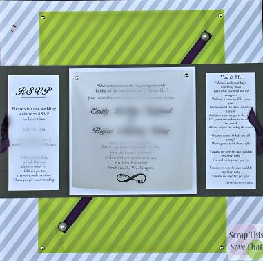 Wedding album, wedding invitation, grey, purple, green
