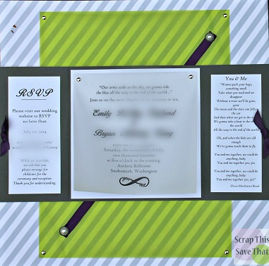 Wedding album, wedding invitation, grey, purple, green