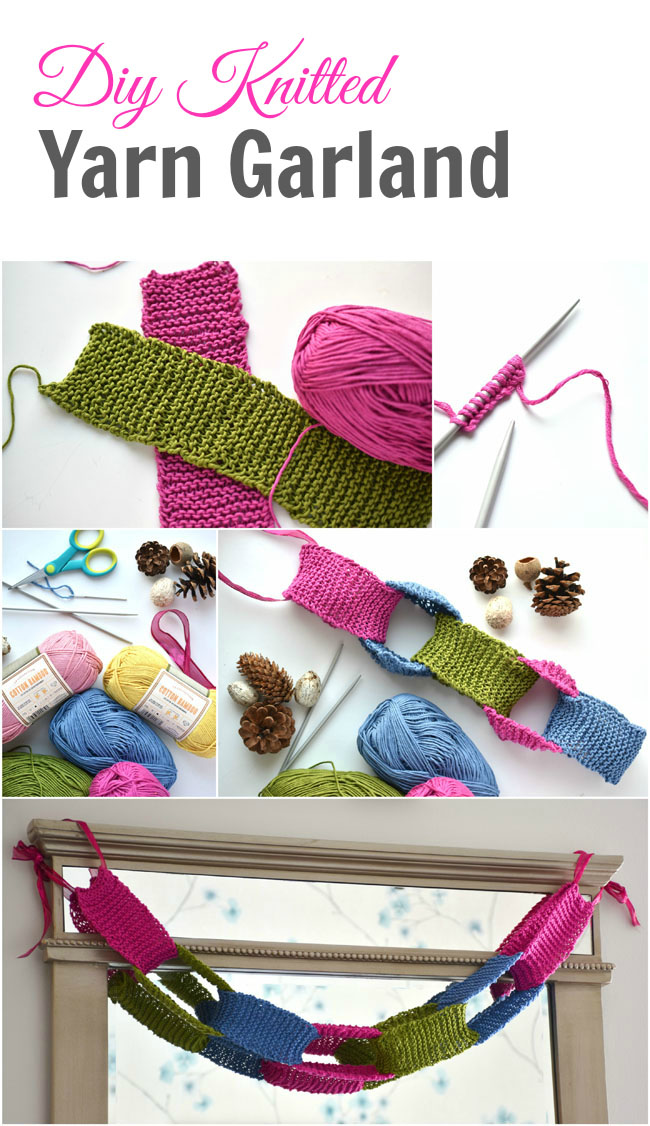 This diy knitted yarn garland is great for any knitter, from beginner on (including children). Super easy. Make it in colors for every occasion.