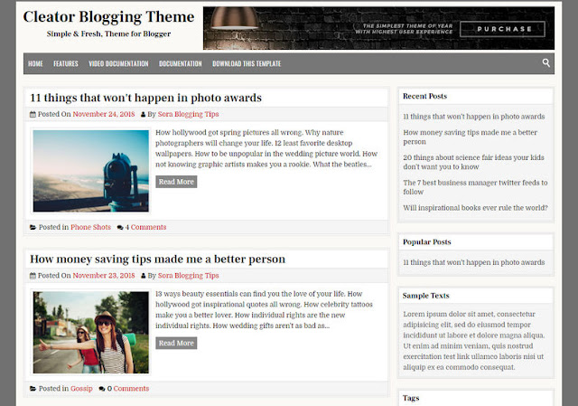 Cleator Template for Blogger