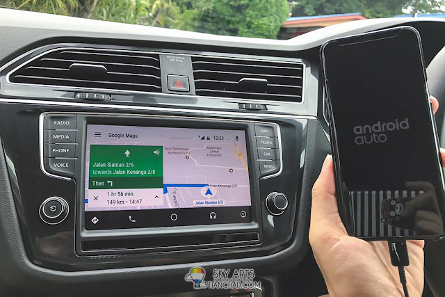 Android Auto with Google Map navigating on VW Tiguan 1.4 TSI