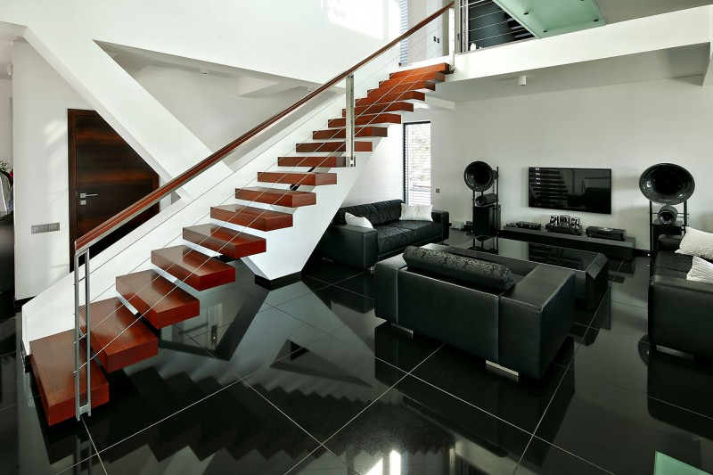 Big Size Sofa Black Marble Floor For Contemporary House Tiling Design