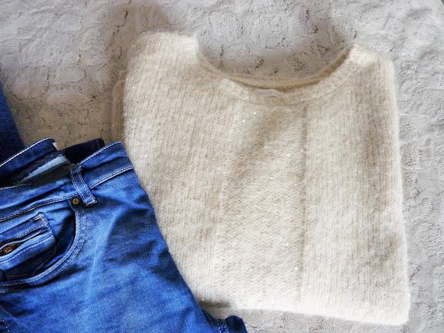 Pull laine Harriswilson blanc cassé sequins