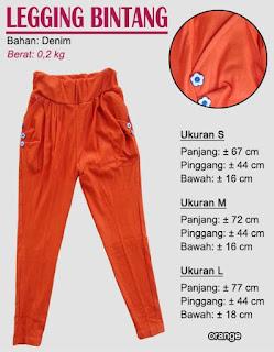 Koleksi legging polos untuk anak terbaru-bintang orange