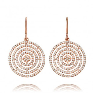 The Icon Aura drop earrings feature five concentric circles of light grey diamond pavé set in a delicate hue of 14 carat rose gold. Astley Clarke uses a truly modern casting technique for their diamond pavé that allows for a stronger setting and more refined design for these diamond earrings. The light grey diamonds looks really chic against the rose gold tone. UK Jewellery Blog - Jewellery Curated