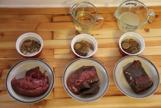 Venison, seasonings, brines for corning