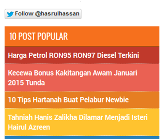 3 Cara Letak Butang Follower Twitter Blogspot