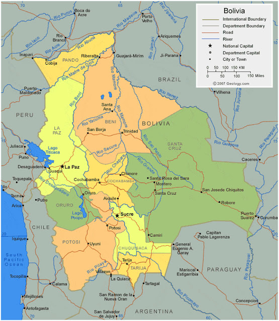Gambar Peta wilayah negara Bolivia HD