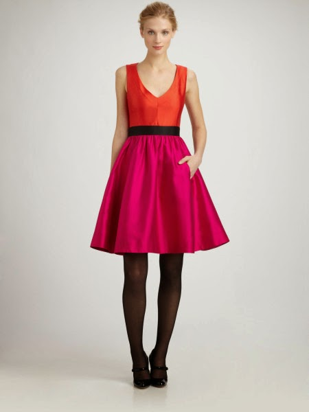 Kate Spade bright pink and orange Normandy Dress