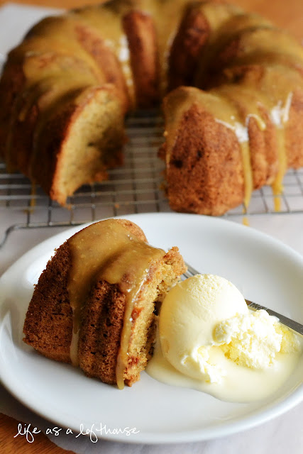 Caramel Apple Pound Cake is a warmapplecake drenched in buttery, gooey caramel sauce. Life-in-the-Lofthouse.com