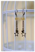boucles d'oreilles étoiles filantes bronze vieilli et jaune