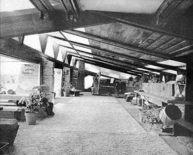 an interior photograph of Frank Lloyd Wright architecture in 1938
