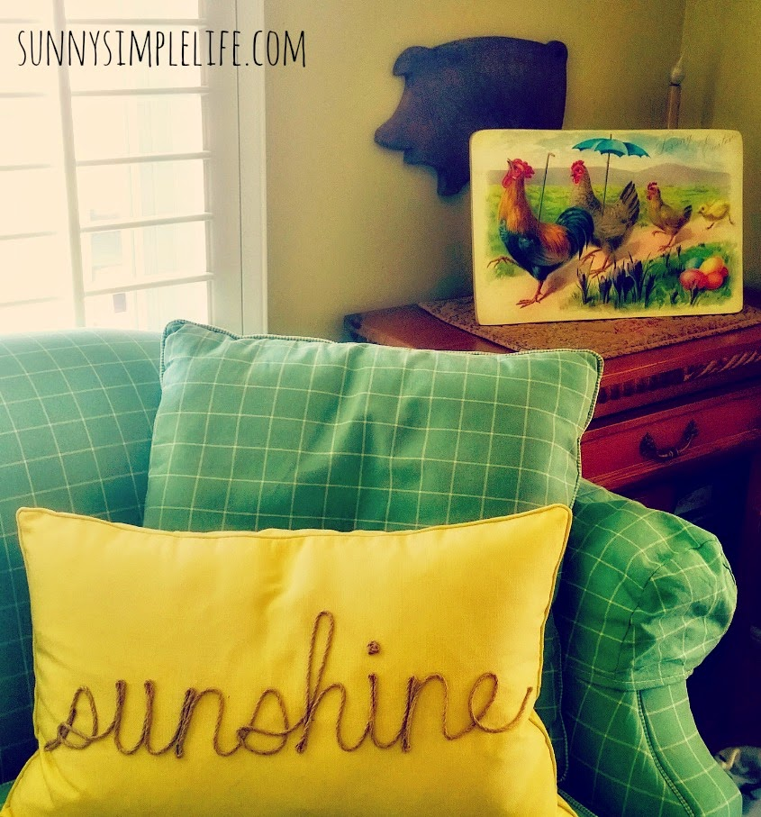 farmhouse Easter decor, sunshine burlap pillow