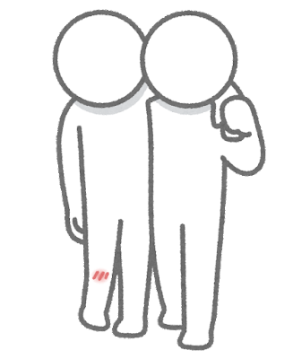 肩を貸す人のイラスト(棒人間)