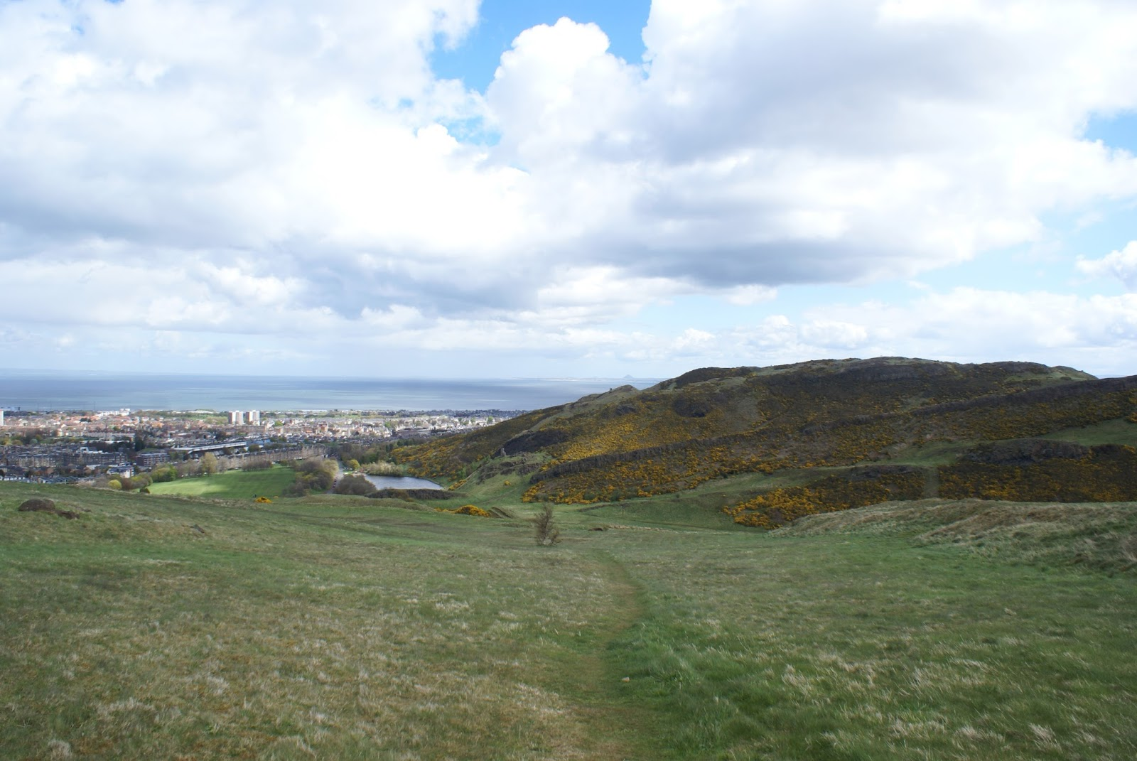 edinburgh city view skyline arthur's seat holyrood hill scotland uk