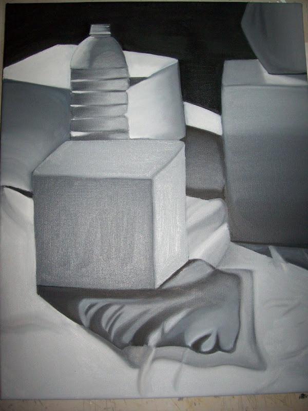 My First Oil Painting Still Life  Black  White  Run