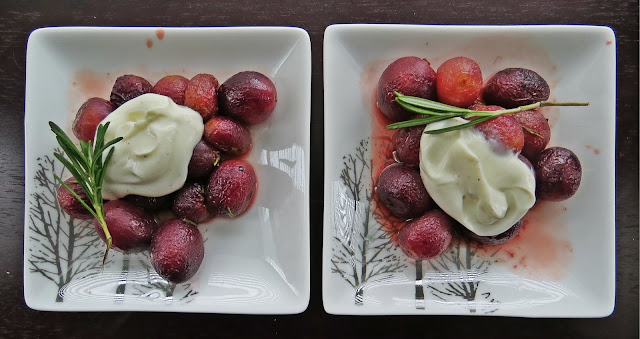 Roasted Grapes with Yogurt and Rosemary