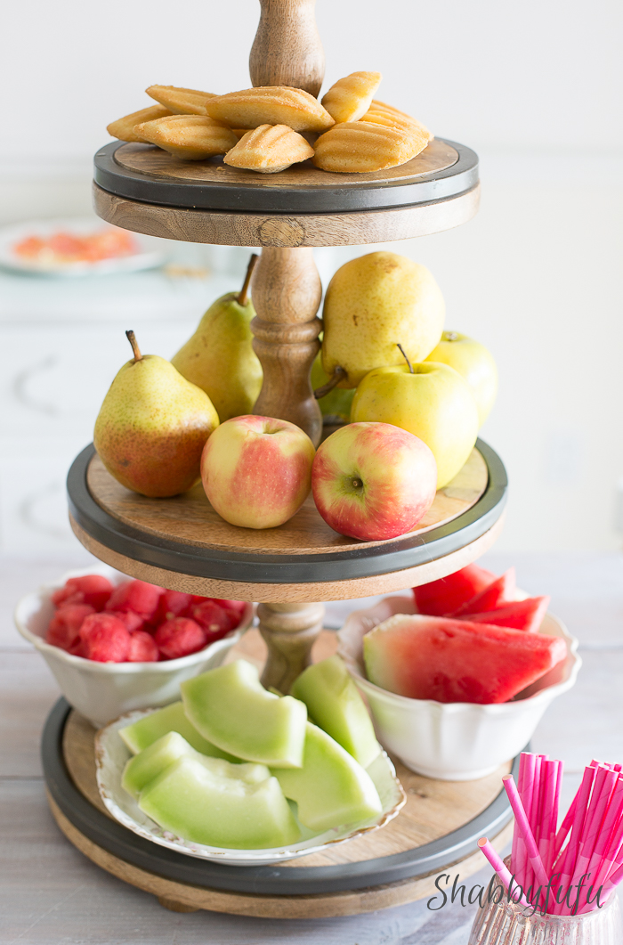 fruit on tiered tray