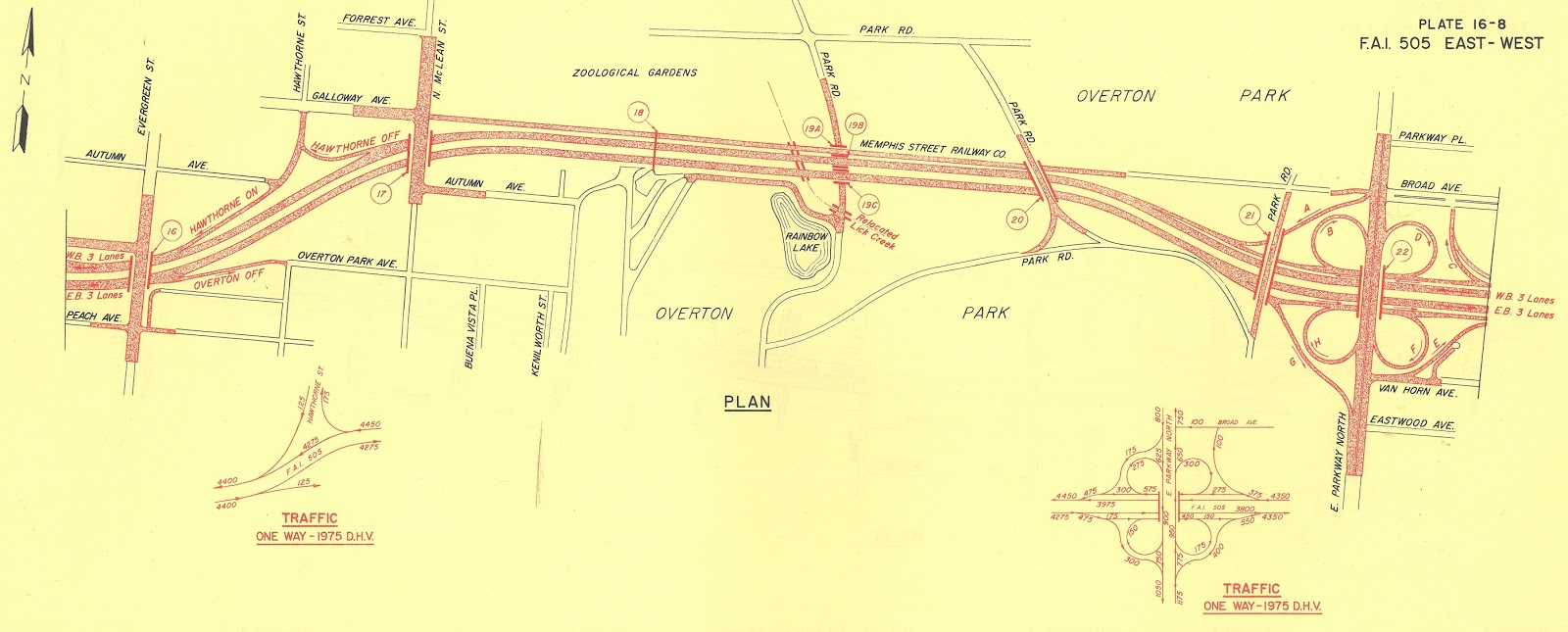 the original proposal for interstate 40 through overton park called for a full cloverleaf interchange at east parkway on the east side of the park