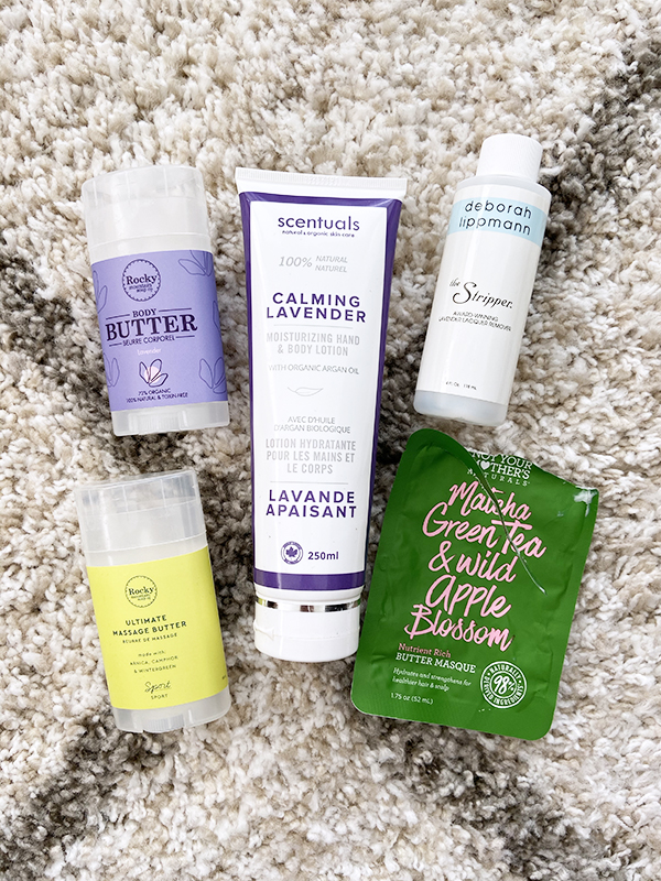 Empty body and hair care products from Rocky Mountain Soap Company, Scentuals, Deborah Lippmann, Not Your Mother's Naturals